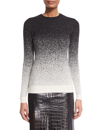 Degrade Cashmere Knit Sweater & Croc-Embossed Leather Paneled Skirt