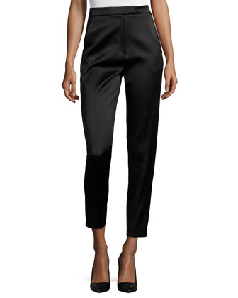 High-Waisted Sateen Slim Pants