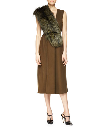 Fox Fur-Trimmed Wool Dress