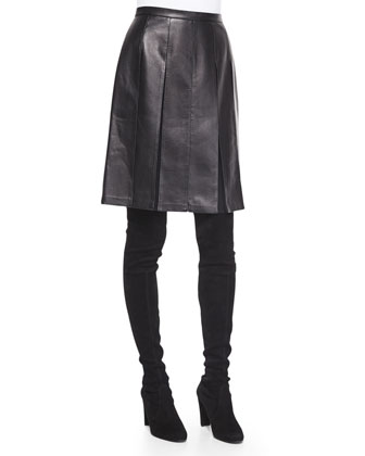 Paint-Flecked Leather-Bound Moto Jacket & Pleated Napa Leather Skirt