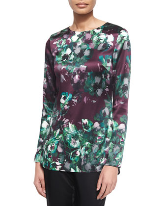 Woodland Floral-Print Stretch Silk Tunic