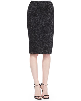 Paneled Subtle Floral Sparkle Knit Skirt