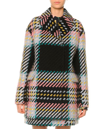 Macro Plaid Tweed Coat, Camelia