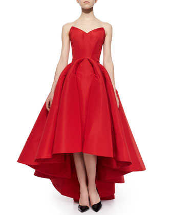 Strapless Cat-Ear-Bodice High-Low Gown, Grenadine