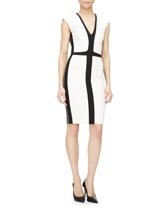 Cap-Sleeve Tricolor Sheath Dress, White/Black