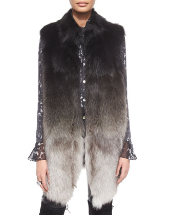 Ombre Fox Fur Vest w/ Pockets, Stamped Leopard-Print Charmeuse Blouse, ...