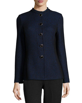Lattice-Knit Mandarin Collar Jacket