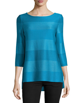 Ombre-Stripe Bateau-Neck Knit Tunic