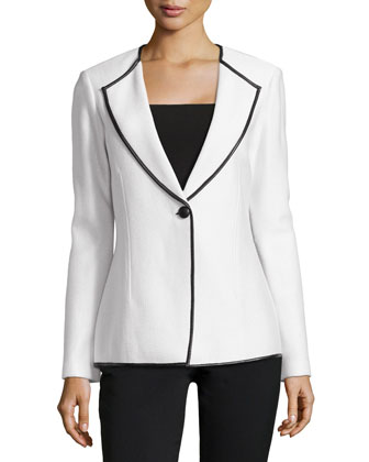 Leather-Trim Textured Revere Blazer