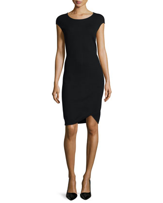 Milano Pique Knit Cap-Sleeve Dress