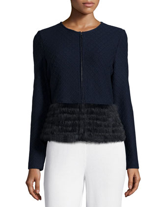 Diamond Knit Cardigan with Fur Peplum