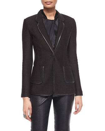 Floating Diamond Textured Knit Blazer w/ Leather Trim, Liquid Satin Wrapped ...