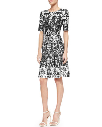 Animal-Print Jacquard Flared Dress, Caviar/Cream