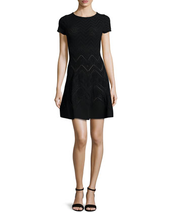 Jacquard Short-Sleeve Dress, Black