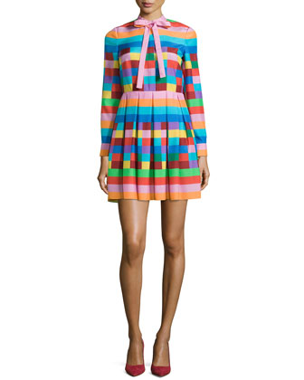 Mix-Print Bow-Neck Long-Sleeve Dress, Pink/Red/Green