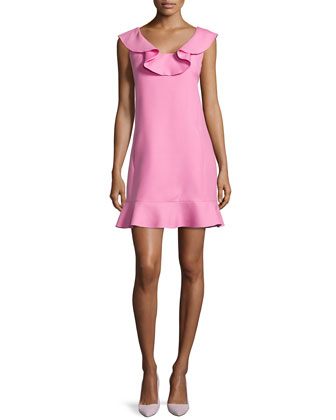 Ruffled Scoop-Neck Dress, Pink