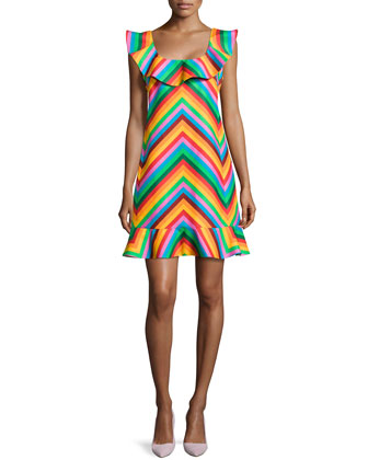 Chevron Ruffled Scoop-Neck Dress, Pink/Red/Green