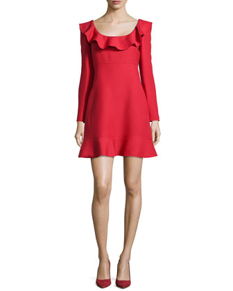 Ruffled Long-Sleeve Dress, Red