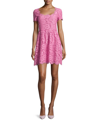 Lace Square-Neck Short-Sleeve Dress, Pink