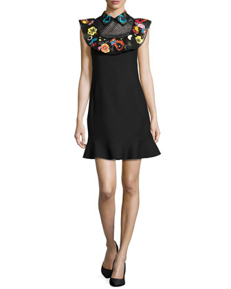 Beaded Floral Sheer-Yoke Dress, Black/Multi