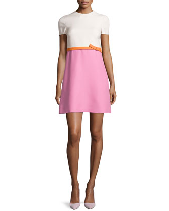 Colorblock Short-Sleeve Dress, Ecru/Pink