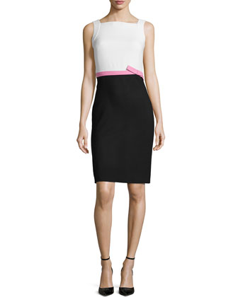 Colorblock Sleeveless Pencil Dress, Ecru/Pink