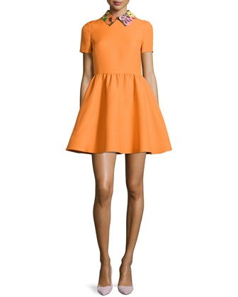Floral-Collar Short-Sleeve Dress, Carrot/Multi