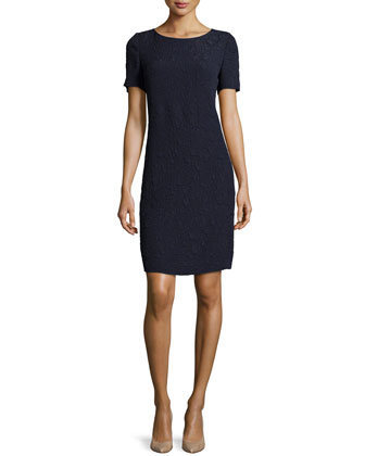 Crinkled Short-Sleeve Shift Dress, Navy