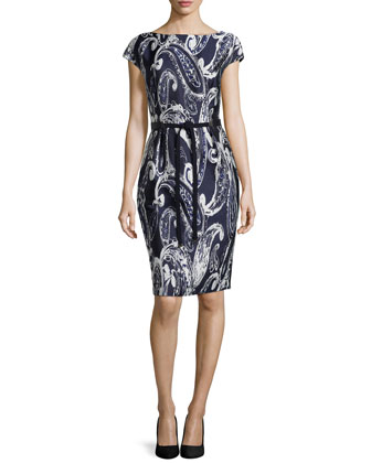 Paisley-Print Jacquard Belted Dress, Navy