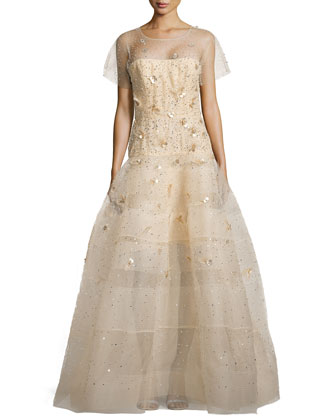 Embellished Tulle Short-Sleeve Gown, Gold
