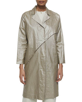 Glazed Linen Asymmetric Coat, Beige