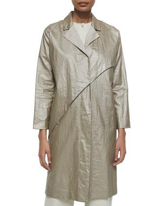 Glazed Linen Asymmetric Coat, Beige
