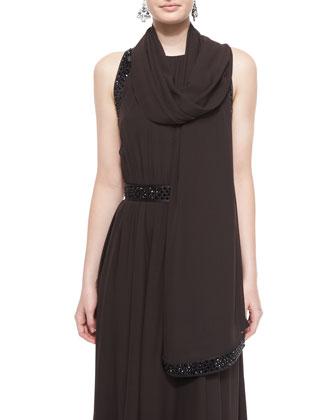 Silk Georgette Wrap W/ Sequi