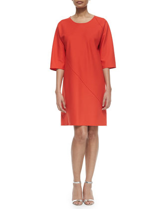 Double-Face Diagonal Seam Dress, Red