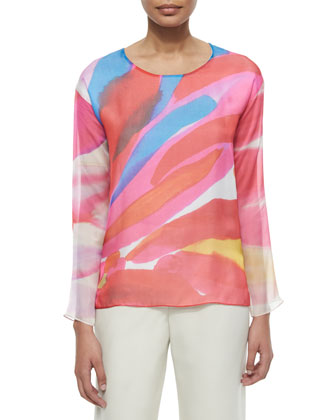 Tie-Dye Silk Long-Sleeve Top
