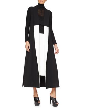 Sleeveless Two-Tone Crepe Coat