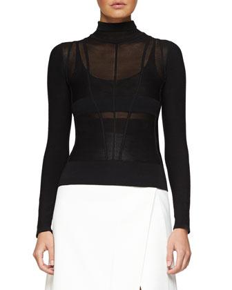 Sleeveless Two-Tone Crepe Coat, Linear-Ridge Knit Turtleneck Sweater & ...