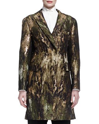 Sculpted Jacquard Snap Coat, Long-Cuffed Poplin Tuxedo Blouse, Tailored ...