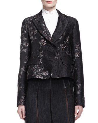 Metallic Brocade Short Jacket, Origami-Collar Poplin Blouse, Pieced ...