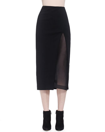 Slit Shadow Paneled Skirt