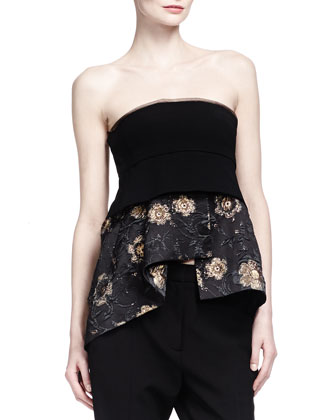 Burnished Metallic Easy Coat, Strapless Floral Jacquard Peplum Bustier Top ...