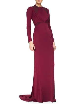 Tuck-Pleated Layered Sheath Gown