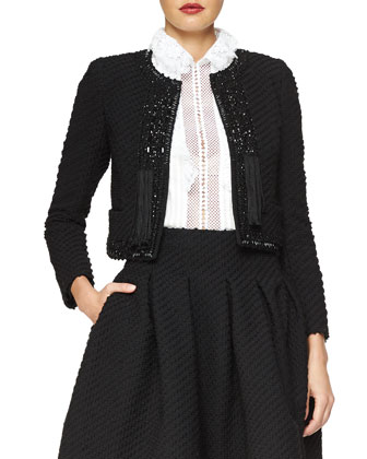 Beaded Stretch Boucle Jacket, Lace-Trimmed Georgette Blouse & Box-Pleated ...