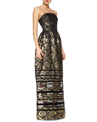 Strapless Metallic Floral Jacquard Gown