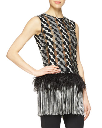Feather & Fringe Trimmed Cable-Paneled Top