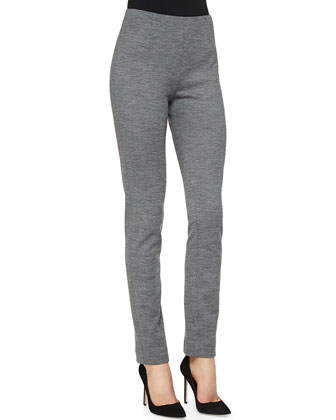 Ponte Side-Zip Pants, Gray