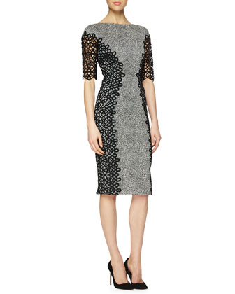 Lace-Detailed Speckled Dress