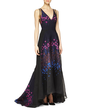 Floral-Embroidered Sheer-Back Full Gown