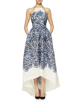 Halter Feather-Print High-Low Gown