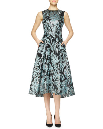 Ikat Brocade Full-Skirt Dress